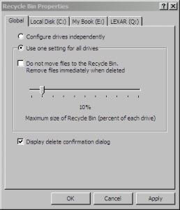 Propriedades da Lixeira do Windows XP