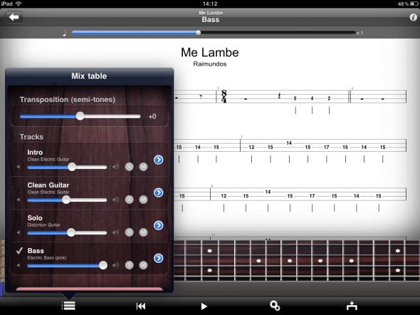 Guitar Pro no iPad - Mostrando Cada Instrumento