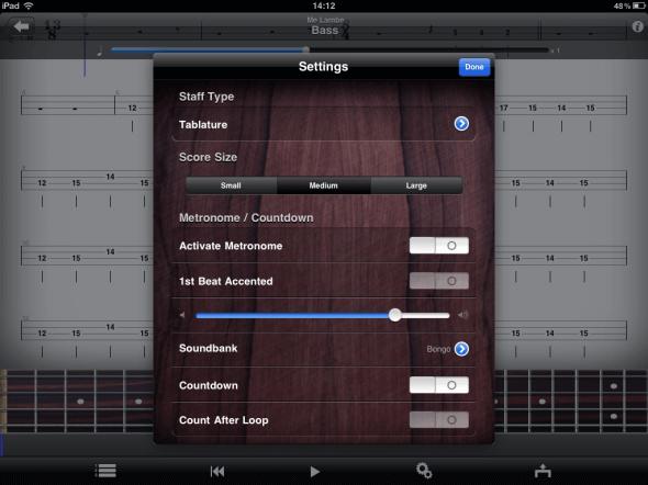 Guitar Pro no iPad - Opções