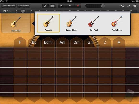 Garage Band no iPad da Primeira Geração