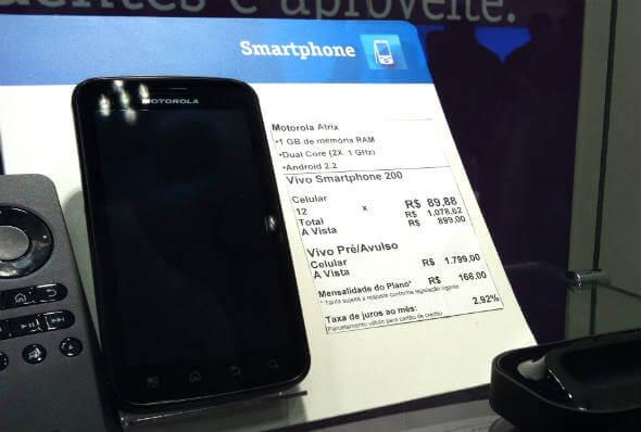 Preço Motorola Atrix na Vivo