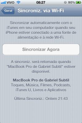 Sicronização com iTunes pelo Wi-Fi