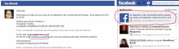 Notificação de segurança do facebook