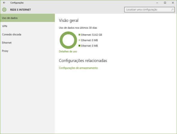 """Painel """"Rede e Internet"""" do Windows 10"""